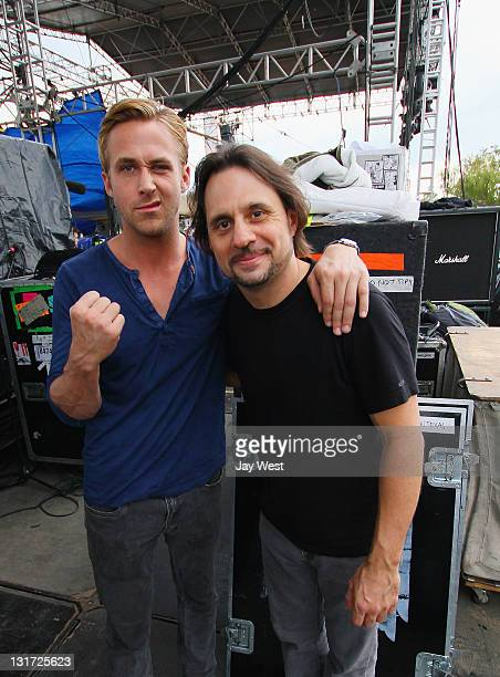 Actor Ryan Gosling and Slayer drummer Dave Lombardo backstage on day three of Fun Fun Fun Fest at Auditorium Shores on November 6 2011 in Austin Texas