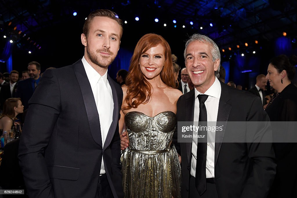 Actor Ryan Gosling, Andrea Sabesin and Scott Mantz attend The 22nd Annual Critics' Choice Awards at Barker Hangar on December 11, 2016 in Santa Monica, California.