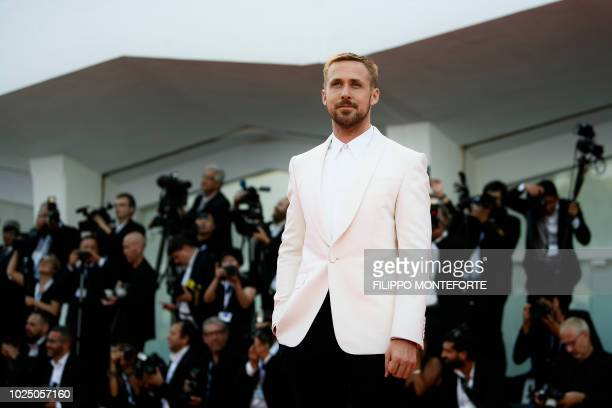 TOPSHOT Actor Ryan Gosling arrives for the opening ceremony and the premiere of the film First Man presented in competition at the 75th Venice Film...