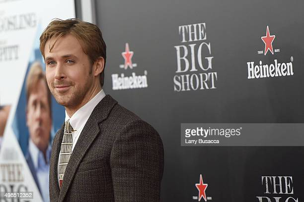 Actor Ryan Gosling attends The Big Short Premiere at Ziegfeld Theatre on November 23 2015 in New York City