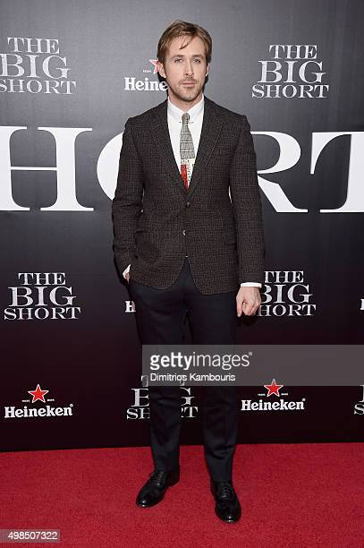 Actor Ryan Gosling attends the premiere of The Big Short at Ziegfeld Theatre on November 23 2015 in New York City