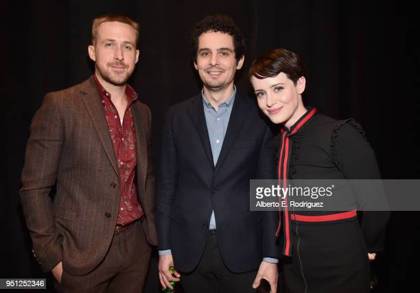 Actor Ryan Gosling director Damien Chazelle and actor Claire Foy attend CinemaCon 2018 Universal Pictures Invites You to a Special Presentation...