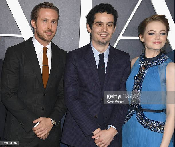 Actor Ryan Gosling director Damien Chazelle and actress Emma Stone attend the premiere of Lionsgate's 'La La Land' at Mann Village Theatre on...