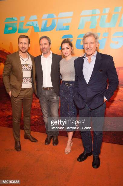Actor Ryan Gosling director Denis Villeneuve actress Ana de Armas and actor Harrison Ford attend the 'Blade Runner 2049' Photocall at Hotel Le...