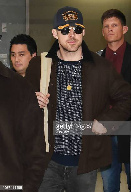 Actor Ryan Gosling is seen on arrival at Narita International Airport on December 2 2018 in Narita Chiba Japan