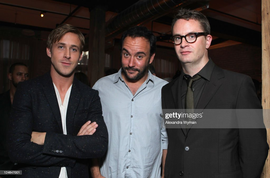Actor Ryan Gosling, Musician/Actor Dave Matthews and Director Nicolas Winding Refn attend the 'Drive' party hosted by GREY GOOSE Vodka at Soho House Pop Up Club during the 2011 Toronto International Film Festival on September 10, 2011 in Toronto, Canada.