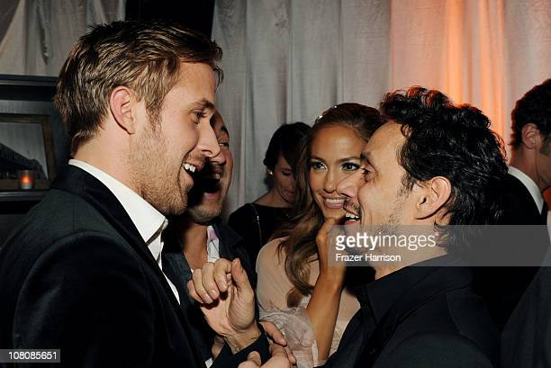Actor Ryan Gosling singer/actress Jennifer Lopez and singer Marc Anthony attend Relativity Media and The Weinstein Company's 2011 Golden Globe Awards...