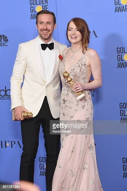 Actor Ryan Gosling winner of Best Actor in a Motion Picture Musical or Comedy for 'La La Land' and actress Emma Stone winner of Best Actress in a...