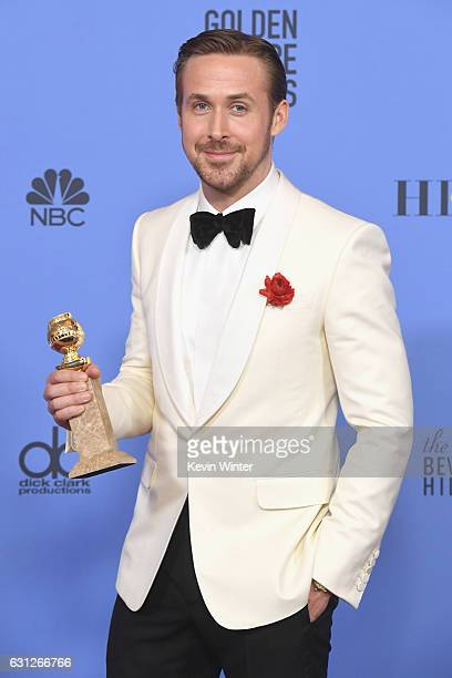 Actor Ryan Gosling winner of Best Actor in a Musical or Comedy Film for 'La La Land' poses in the press room during the 74th Annual Golden Globe...