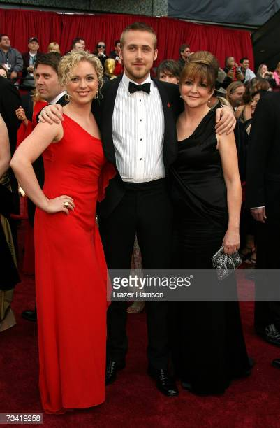 Actor Ryan Gosling with sister Mandi and mother Donna attend the 79th Annual Academy Awards held at the Kodak Theatre on February 25 2007 in...
