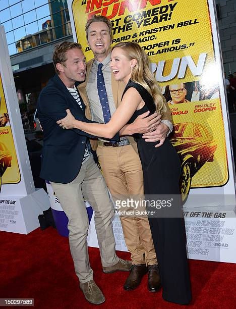 Actor Ryan Hansen actor Dax Shepard and actress Kristen Bell arrive at the premiere of Open Road Films' Hit Run at the Regal Cinemas LA Live on...