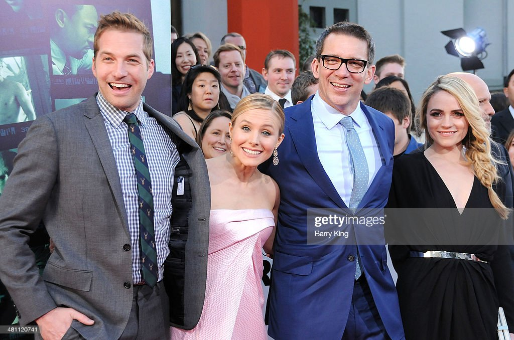 Actor Ryan Hansen, actress Kristen Bell, director Rob Thomas and actress Amanda Noret arrive at the Los Angeles premiere 'Veronica Mars' on March 12, 2014 at TCL Chinese Theatre in Hollywood, California.