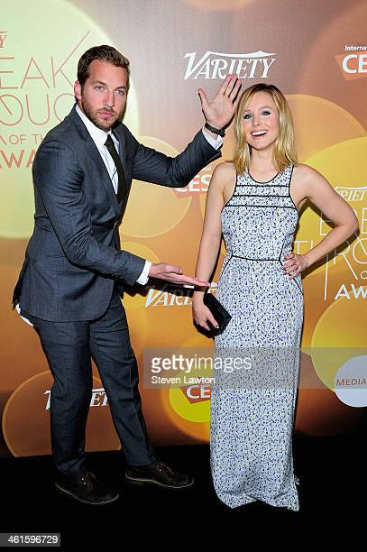 Actor Ryan Hansen and honoree Kristen Bell attend the Variety Breakthrough of the Year Awards during the 2014 International CES at The Las Vegas...