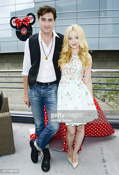 Actor Ryan McCartan and Actress Dove Cameron spotted backstage at Radio Disney Music Awards Minnie's Music Lounge at Nokia Theatre LA Live on April...