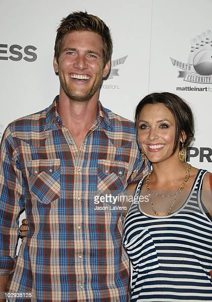 Actor Ryan McPartlin and Danielle Kirlin attend Matt Leinart's celebrity bowlathon at Lucky Strike Bowling Alley on July 15 2010 in Hollywood...
