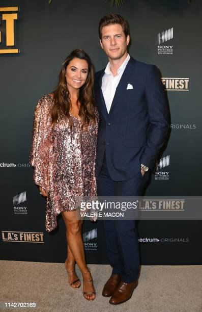 US actor Ryan McPartlin and his wife actress Danielle Kirlin arrive for the red carpet event of Spectrum Originals' new drama LAs Finest at the...