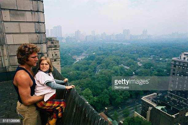 Actor Ryan O'Neal and his daughter Tatum who appears with him in 'Paper Moon' They're shown on the 22nd floor terrace of Hotel Pierre NYC