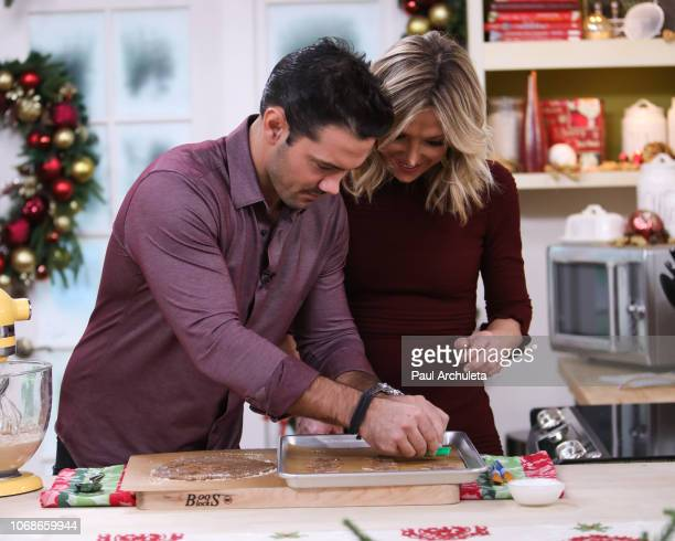 Actor Ryan Paevey and TV Host Debbie Matenopoulos on the set of Hallmark's 'Home Family' at Universal Studios Hollywood on November 16 2018 in...