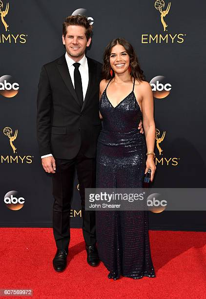 Actor Ryan Piers Williams and actress America Ferrera arrive at the 68th Annual Primetime Emmy Awards at Microsoft Theater on September 18 2016 in...