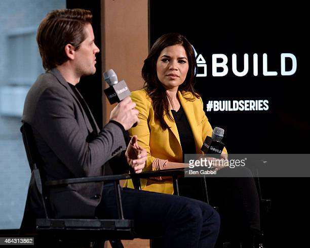 Actor Ryan Piers Williams and actress America Ferrera attend AOL BUILD Speaker Series at AOL Studios In New York on February 24 2015 in New York City
