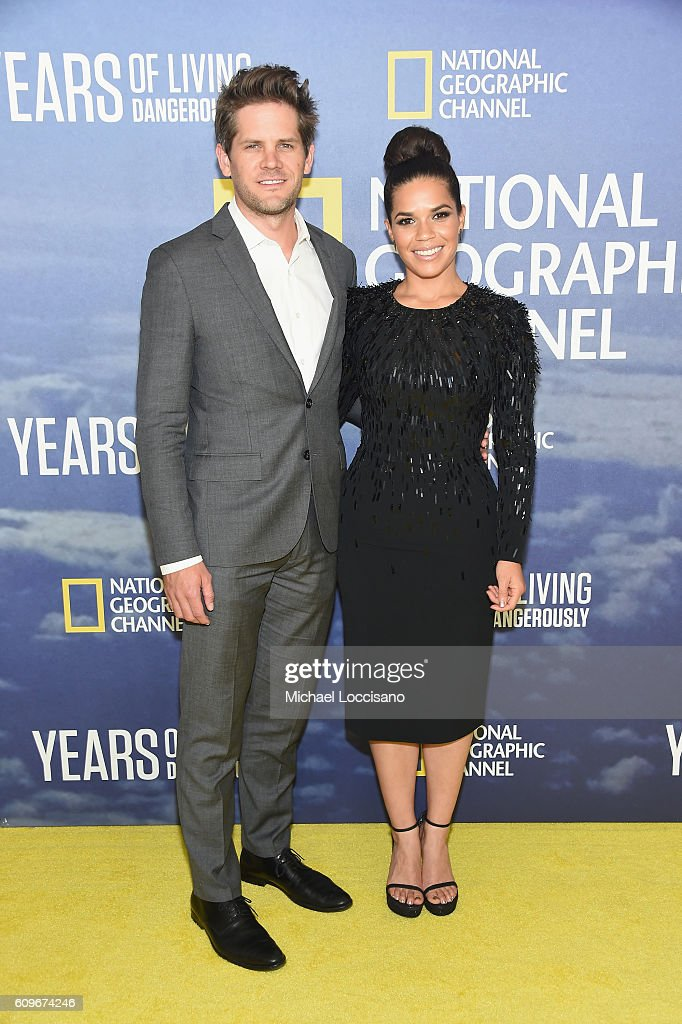 Actor Ryan Piers Williams and wife, actress America Ferrera attend National Geographic's 'Years Of Living Dangerously' new season world premiere at the American Museum of Natural History on September 21, 2016 in New York City.