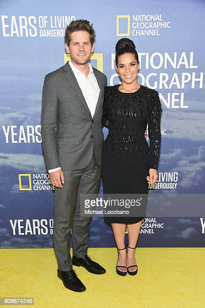 Actor Ryan Piers Williams and wife actress America Ferrera attend National Geographic's 'Years Of Living Dangerously' new season world premiere at...