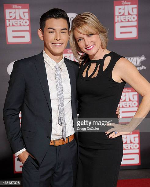 Actor Ryan Potter and mom arrive at the Los Angeles premiere of Disney's Big Hero 6 at the El Capitan Theatre on November 4 2014 in Hollywood...