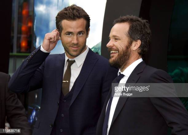 Actor Ryan Reynolds and actor Peter Sarsgaard attend the 'Green Lantern' Germany Premiere at CineStar on July 25, 2011 in Berlin, Germany.