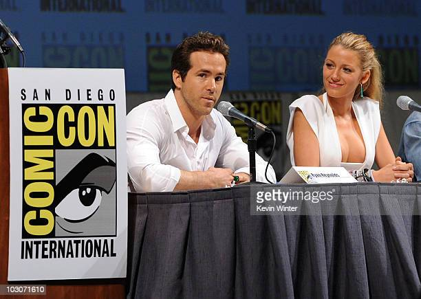 "Actor Ryan Reynolds and actress Blake Lively speak onstage at the ""Green Lantern"" panel discussion during Comic-Con 2010 at San Diego Convention..."