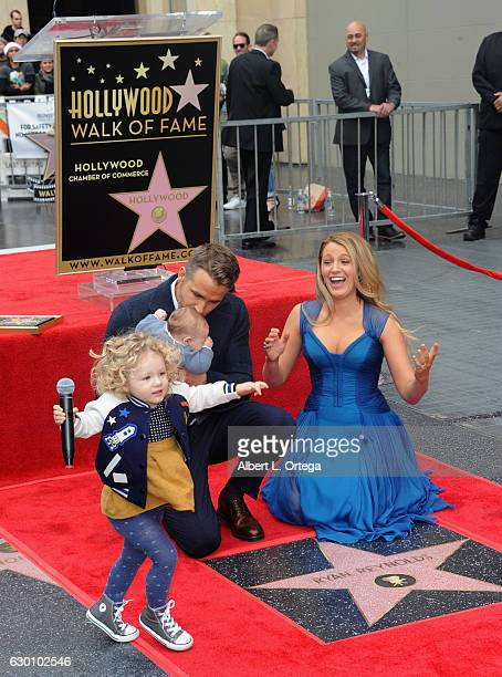 Actor Ryan Reynolds and Actress/wife Blake Lively and with daughters James and unrevealed at Ryan Reynolds' Star Ceremony On The Hollywood Walk Of...