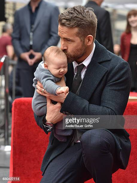 Actor Ryan Reynolds and daughter Ines Reynolds attend the ceremony honoring Ryan Reynolds with a Star on the Hollywood Walk of Fame on December 15...
