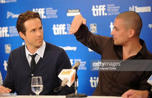 "Actor Ryan Reynolds and director Rodrigo Cortes speak at ""Buried"" press conference during the 2010 Toronto International Film Festival at the Hyatt..."