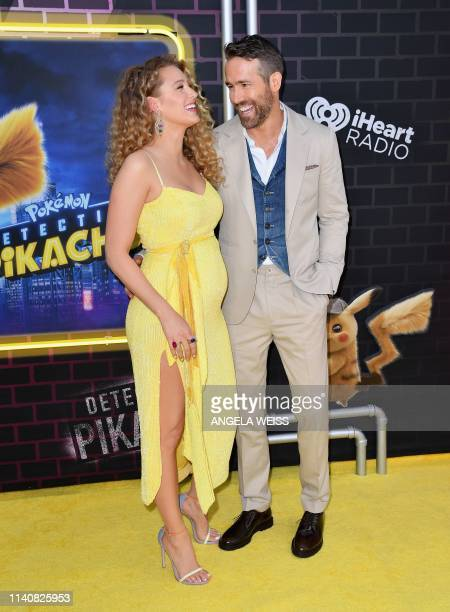 US actor Ryan Reynolds and his wife actress Blake Lively attend the premiere of Pokemon Detective Pikachu at Military Island Times Square on May 02...