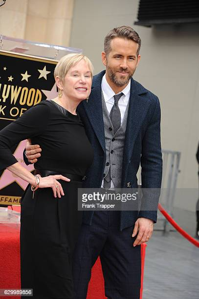 Actor Ryan Reynolds and mother Tammy Reynolds attend the ceremony honoring actor Reynolds with a star on the Hollywood Walk of Fame on December 15,...