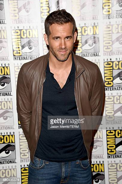 Actor Ryan Reynolds attends the 20th Century Fox press room during ComicCon International 2015 at the Hilton Bayfront on July 11 2015 in San Diego...
