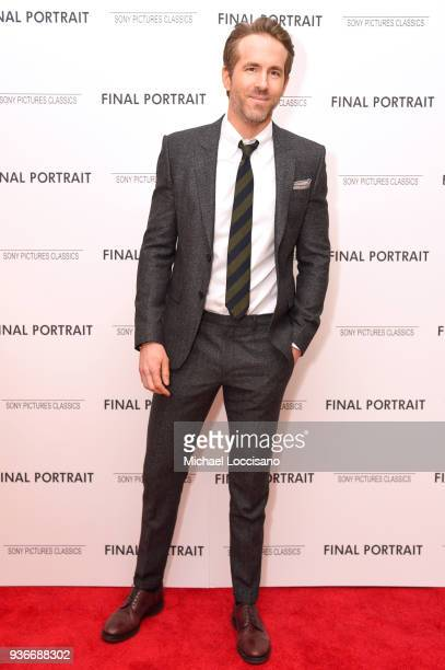 Actor Ryan Reynolds attends the Final Portrait New York Screening at Guggenheim Museum on March 22 2018 in New York City