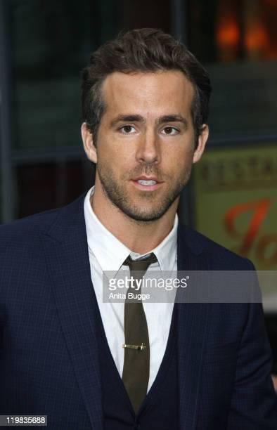 Actor Ryan Reynolds attends the 'Green Lantern' Germany Premiere at CineStar on July 25, 2011 in Berlin, Germany.