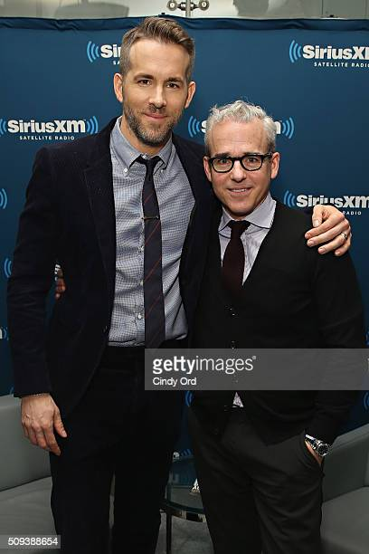 Actor Ryan Reynolds poses with Editorial Director at PEOPLE and EW Jess Cagle during SiriusXM's Entertainment Weekly Radio Special with Ryan Reynolds...