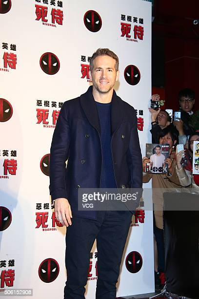 Actor Ryan Reynolds promotes the new movie Deadpool on January 21 2016 in Taipei Taiwan of China