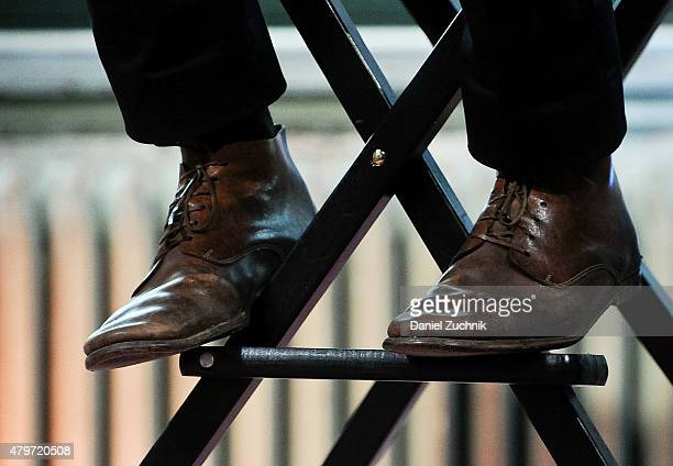 Actor Ryan Reynolds shoes detail attends the AOL Build Presents 'Selfless' at AOL Studios In New York on July 6 2015 in New York City