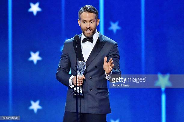 Actor Ryan Reynolds speaks onstage during the 22nd Annual Critics' Choice Awards at Barker Hangar on December 11 2016 in Santa Monica California