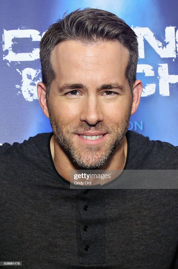 Actor Ryan Reynolds visits the SiriusXM set at Super Bowl 50 Radio Row at the Moscone Center on February 5, 2016 in San Francisco, California.