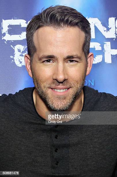 Actor Ryan Reynolds visits the SiriusXM set at Super Bowl 50 Radio Row at the Moscone Center on February 5 2016 in San Francisco California