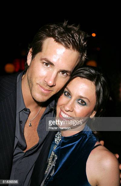 Actor Ryan Reynolds with Alanis Morissette at the premiere of 'Blade Trinity' after party held at the Level 7 club Hollywood and Highland on December...