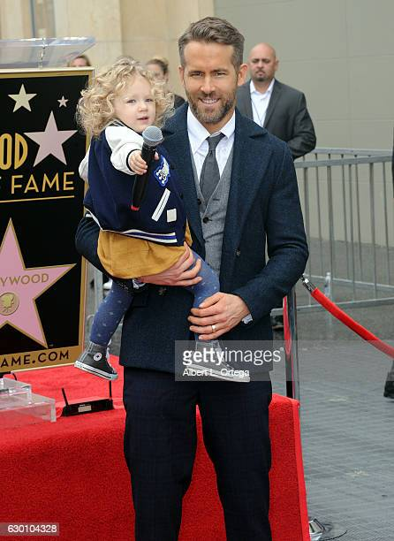 Actor Ryan Reynolds with daughter James at Ryan Reynolds' Star Ceremony On The Hollywood Walk Of Fame on December 15 2016 in Hollywood California
