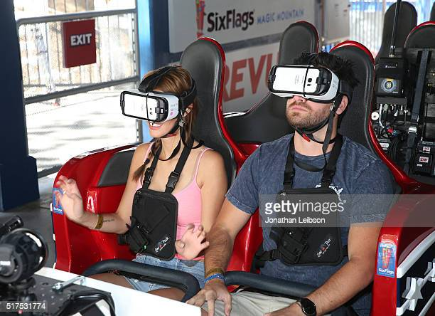 Actor Ryan Rottman and Jess Vargas attend Samsung debut of the first virtual reality coaster powered by Samsung Gear VR at Six Flags Magic Mountain...