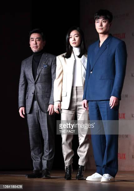 Actor Ryu SeungRyong actress Bae DooNa and actor Ju JiHoon during a press conference of Netflix Originals 'Kingdom' at Intercontinental Seoul on...