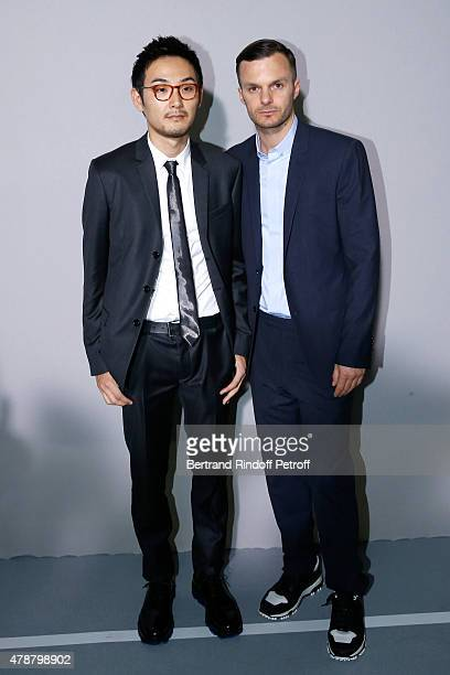 Actor Ryuhei Matsuda and Fashion designer Kris Van Assche pose Backstage after the Dior Homme Menswear Spring/Summer 2016 show as part of Paris...
