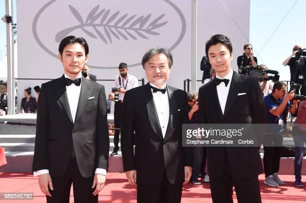 Actor Ryuhei Matsuda director Kiyoshi Kurosawa and actor Hiroki Hasegawa attend the 'Before We Vanish ' premiere during the 70th annual Cannes Film...