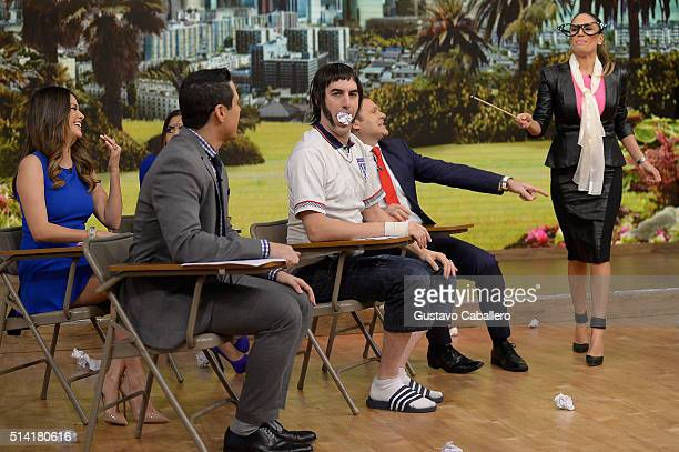 Actor Sacha Baron Cohen Alan Tacher and Karla Martinez are seen on the set of Univision's 'Despierta America' to promote 'The Brothers Grimsby' at...